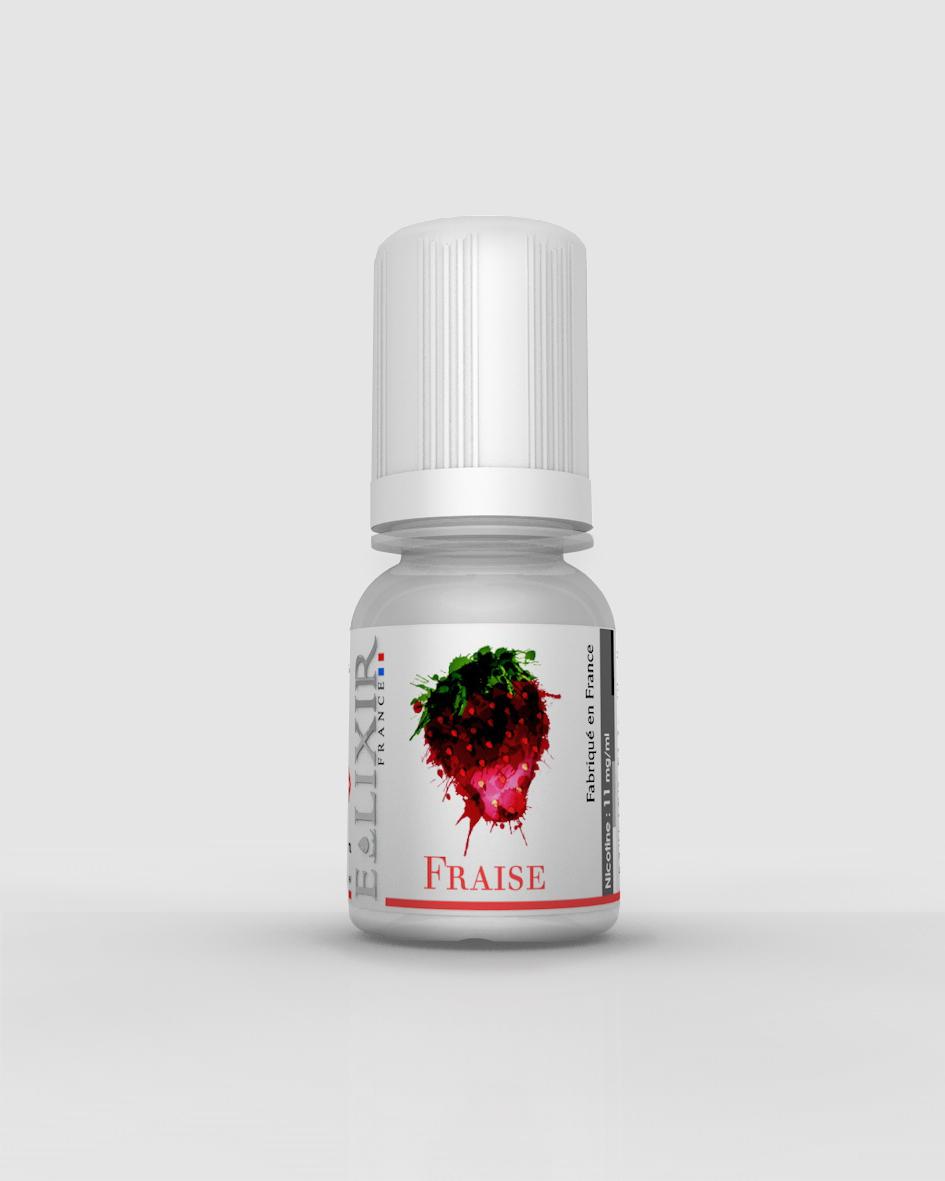 fiole de e-liquide elixir parfum fraise